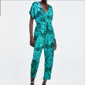 NWOT Zara Green Rose Print Romper Jumpsuit